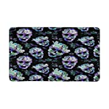 InterestPrint Floral Skulls Indoor Doormat Large 30 X 18 Inches Non Slip Front Entrance Door Mat Rug