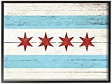 The Stupell Home Decor Collection Chicago Flag Distressed Wood Look Oversized Framed Giclee Texturized Art, 16 x 20