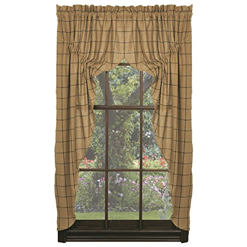 IHF Home Decor Burlap Check Design Prairie Curtain Window Treatments 100% Cotton 72