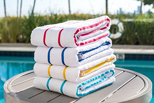(100% USA Cotton Beach-Towels Pool-Towels Family Value Variety Pack of 4 Striped Pool-Towels Beach-Towels, 30