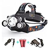 2017 Waterproof adjustable led headlight rechargeable battery li-ion 6000 lumens xml 3T6 CREE led headlamp, Best for Camping Biking Hunting Fishing Outdoor