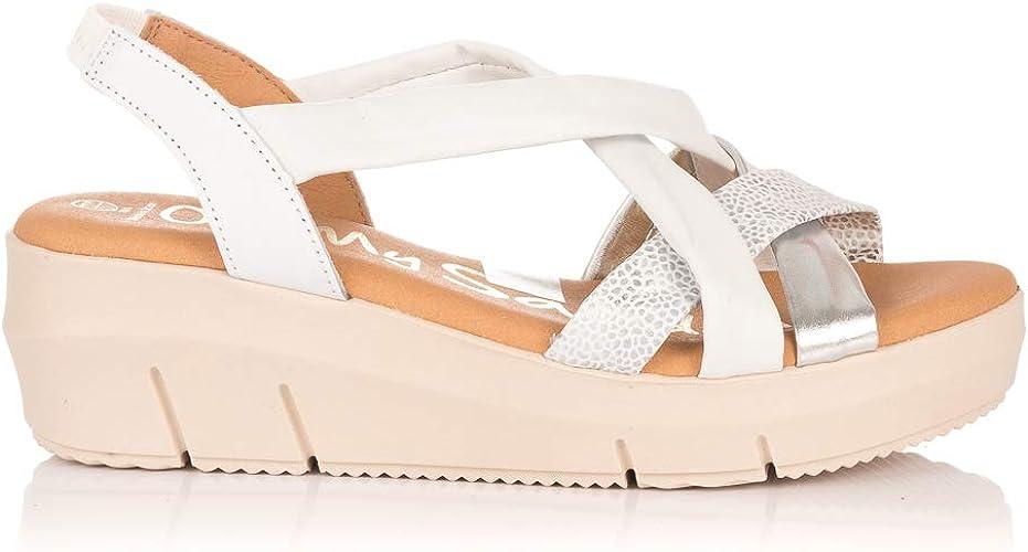 OH MY SANDALS 4342 Sandalia TUBULARES Piel CUÑA Mujer Blanco 40: Amazon.es: Zapatos y complementos