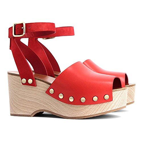 Céline Women's Bright Pink Leather Sandals With Platform Shoes - Size: 6 (Celine Leather Heels)