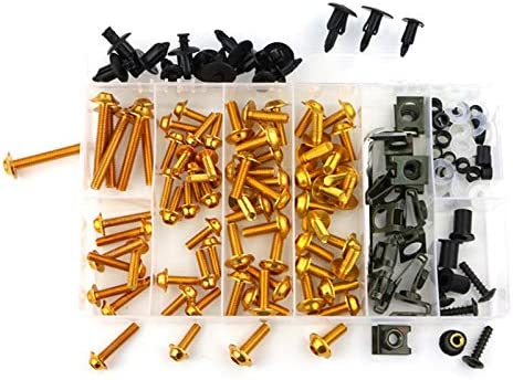 YUQINN Motorradteile Motorrad Aluminium Verkleidungs Schrauben Kit Schrauben for Kawasaki Ninja 250R ZZR250 EX400 650R ER-6f / EX-6 ER-6n Ninja 300 400 650 1000 (Color : Gold)