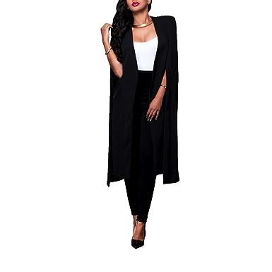 a0f3234e6a8 wangtaoshun Womens Casual Open Front Cloak Cape Trench Coat Long Blazer  Plus Size Suit  Amazon.co.uk  Clothing