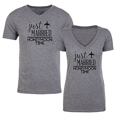 We Match! - Couple Shirts - Just Married Honeymoon Time - Matching Couples V-Neck Triblend T-Shirts Set