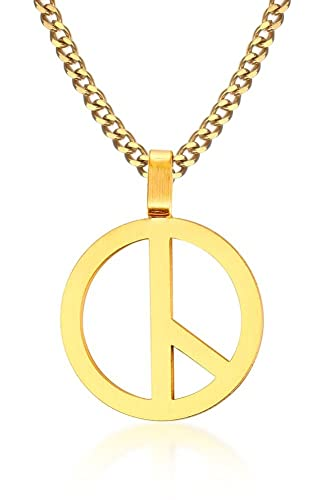 Mp Stainless Steel Peace Sign Charm Pendant Anti War Peaceful Love