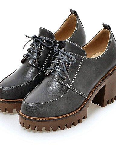 GGX/ Damen-High Heels-Kleid / Lässig-Kunstleder-Blockabsatz-Absätze / Plateau / Rundeschuh-Schwarz / Grau / Beige gray-us5.5 / eu36 / uk3.5 / cn35