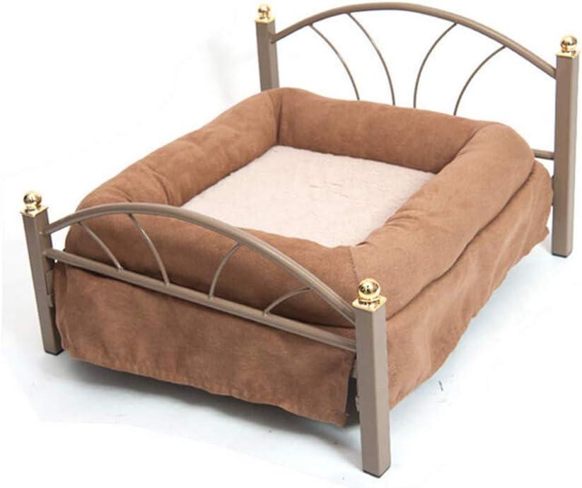 ビズアイ ペット用品 - ペット犬用ベッドデラックスベッドヨーロピアンアイアン+ PP綿滑り止めコンフォート - エスプレッソ、ジャンボ 子猫の子犬のベッド (Color : 1)