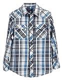 Gioberti Little Boys Plaid Long Sleeve Pearl Snaps Shirt, White / Turquoise, Size 7