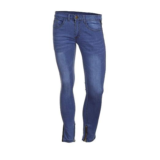 VECDY Hosen Herren Herren Stretch Denim Hose Distressed zerrissene ausgefranste Slim Fit Zipper Jeans Hose Stretchhose Jeans