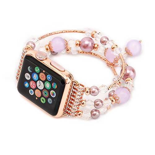Apple Watch Band, Natural Pearl Stone Watchband Strap Ela...