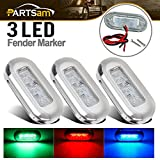"Partsam 3x High Polished 3"" Surface Mount LED Courtesy Lights Red Green Blue Boat Marine"