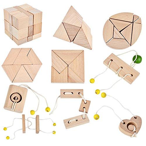 B& Julian 3D IQ Puzzle 10 Mini Holz Puzzlespiel Holzpuzzle Knobelspiele Geduldspiel Set Holzknoten Rätselspiel Geschicklichkeitsspiel Ideen Adventskalender Inhalt Zarpori GmbH Architektur