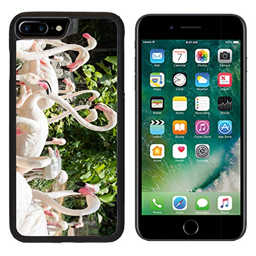 Liili iPhone 7 plus Case iPhone 8 plus Case Silicone Bumper Shockproof Anti-Scratch Resistant Tempered Glass Hard Cover IMAGE ID: 20239104 flamingo in zoo Chiang Mai (Chiang Mai Zoo)