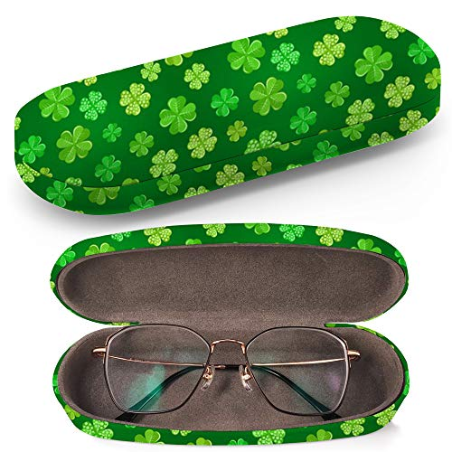 Hard Shell Glasses Protective Case with Cleaning Cloth for Eyeglasses and Sunglasses - Green Shamrock On