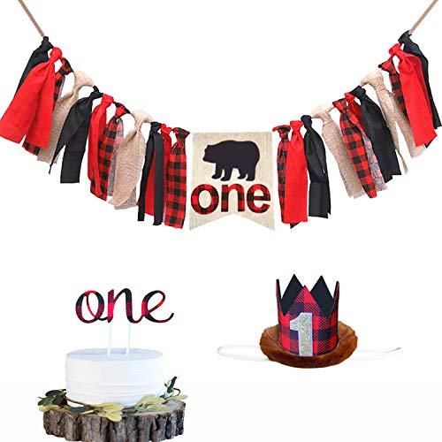 Lumberjack Kids First Birthday Decorations Kit, Lumberjack Highchair Banner, Lumberjack Crown With One Cake Topper For Baby Girl Boy 1st Birthday Party Supplies