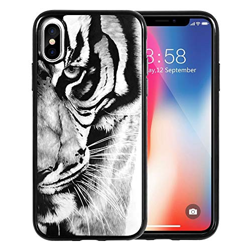 DOO UC Designed for Apple iPhone XR Case (2018) TPU Black Case -Retro Black and White Tiger Pattern