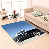 Nalahome Custom carpet can Side View of a Parked Old American Police Car and the Sky Digital Print Blue Beige and Black area rugs for Living Dining Room Bedroom Hallway Office Carpet (5' X 8')