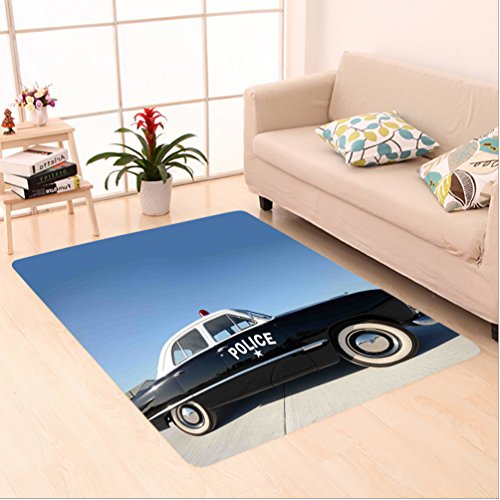Nalahome Custom carpet can Side View of a Parked Old American Police Car and the Sky Digital Print Blue Beige and Black area rugs for Living Dining Room Bedroom Hallway Office Carpet (5' X 8') by Nalahome