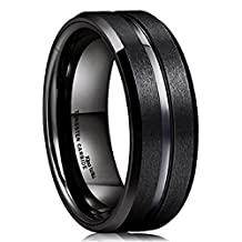 King Will Classic 8mm Black Tungsten Carbide Wedding Band Ring Polished Finish Grooved Center Comfort Fit