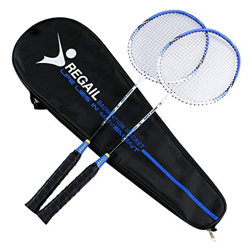 YJONS 2 Pack Trained Badminton Rackets, Sports Carbon Fiber Lightweight Badminton Racquet, for Professional & Beginner Players (1)
