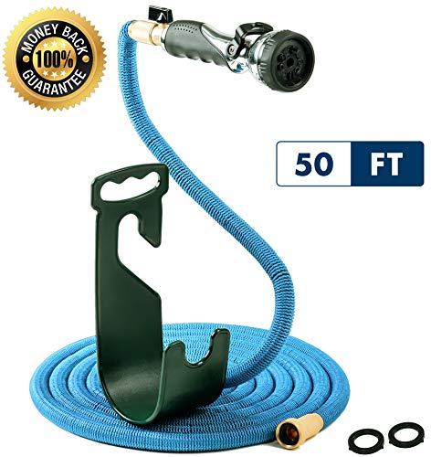 Expandable Flexible Water Hose with Brass Fittings – High Pressure Spray Nozzle Attachment – On/Off Valve – Yard Hose Hanger Wall Mount – Heavy Duty – Space-Saver Multipurpose Garden Hose (50)