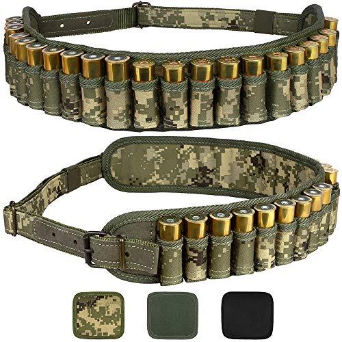 (BronzeDog Waterproof Shotshell Holder Nylon Belt Case Ammo Gauge Adjustable Shotgun Rounds Shoulder Bandolier Hunting Accessories 12 16 Gauge (Pixel)