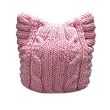 BIBITIME Handmade Knit Pussycat Hat Women's March Parade Cap Cat Ears Beanie (Adult-Pink, Reference)