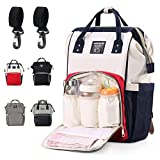Eocean Baby Diaper Bag, Multi-Function Mommy Backpack, Large Capacity Waterproof, High-quality Nappy Tote Bags with Insulated Pockets & Dry Wet Depart for Mom and Dad Going out (Red+White+Blue)
