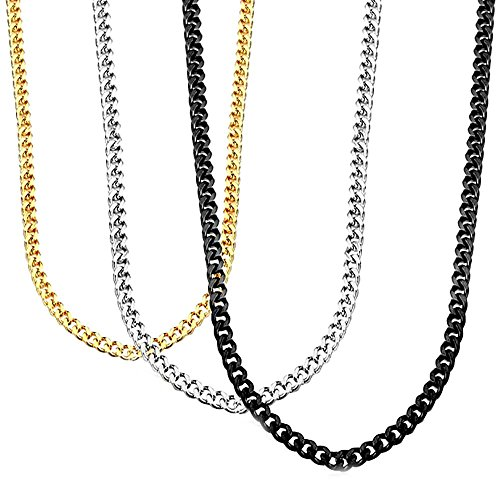 Stainless Steel Necklace, HERACULS 3.5MM Mens Womens Curb Link Chain 3Pcs Set Gold Silve Black 20 (Black Curb Chain)