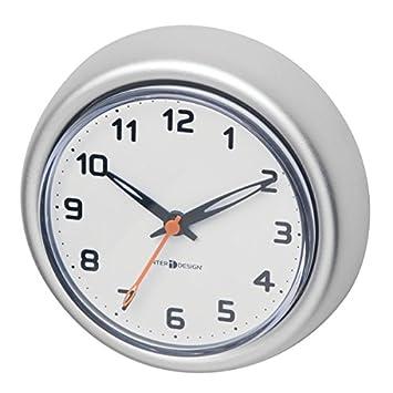 MetroDecor mDesign Reloj de baño con Ventosa – Reloj de Pared de Aluminio Inoxidable – El
