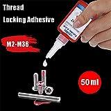 wawoo Thread Locker - Red Medium Strength Threadlocking Agent, Anaerobic Adhesive, Thread Sealing Rustproof 50g Ideal Dependable Contribution Modern
