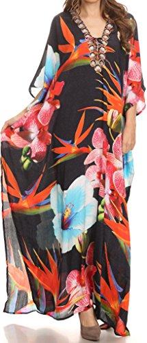 Sakkas SS1623 KF2020673A - LongKaftan Georgettina Ligthweight Printed Long Caftan Dress/Cover Up - Black/Multi - OS