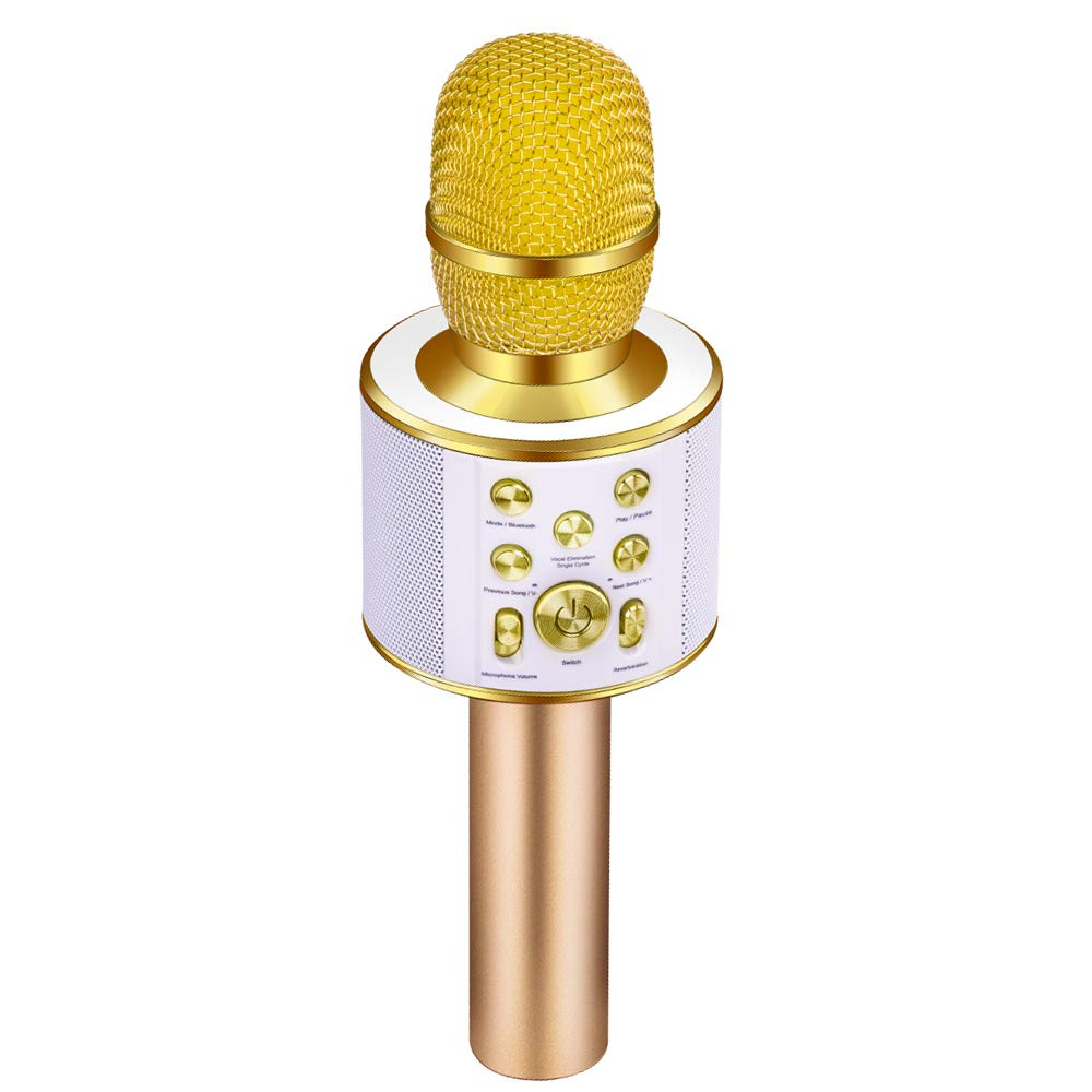 Verkstar 4-in- Bluetooth Wireless Microphone Karaoke, with Duet and Accompaniment Function, Portable KTV Speaker Home Birthday Party Machine for iPhone/Android/ PC/all smartphones (Gold) GMBT007ALG