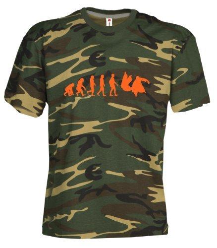 Camouflage Classic Army Style T-Shirt Kurzarm in Tarnfarbe Bedruckt mit Evolution Aikido in Neon Orange S.B.J - Sportland