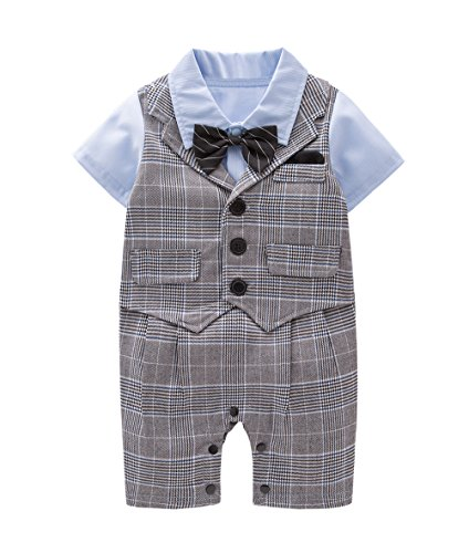 May's Baby Toddler Boys Bowtie Plaid Faux Vest Romper Onesie