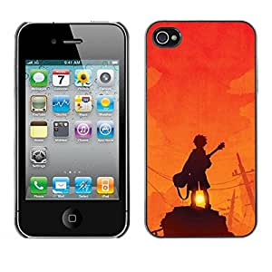 LASTONE PHONE CASE / Carcasa Funda Prima Delgada SLIM Casa Carcasa Funda Case Bandera Cover Armor Shell para Apple Iphone 4 / 4S / Guitar Player Sunset Rock Orange