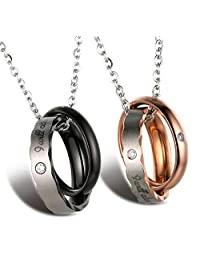 """Halukakah """"I WILL ALWAYS BE WITH YOU"""" Couple's Titanium Ring Pendant Necklace Rose Golden/Gun Black with Chain 50cm"""