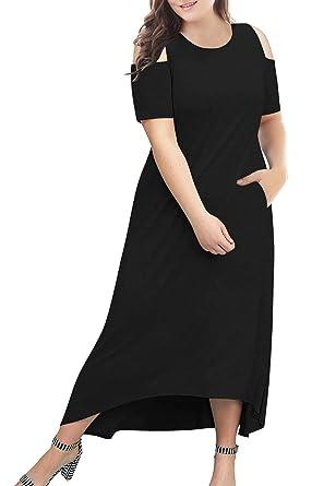 7fda51c0e8807 Nemidor Women's Cold Shoulder Plus Size Casual High-Low Hem Maxi Dress with  Pocket