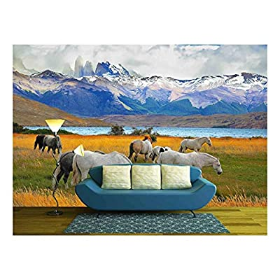 Made With Top Quality, Incredible Craft, Beautiful White and Gray Horses Grazing in a Meadow near the Lake on the Horizon Towering Cliffs Torres Del Paine