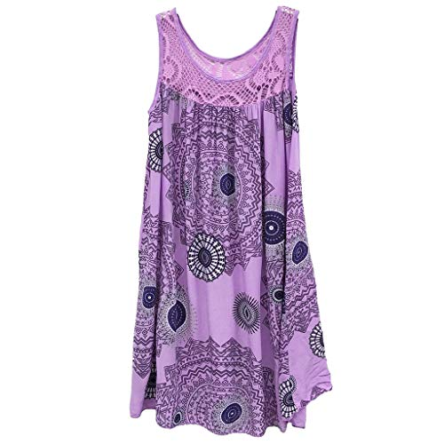 Women Dresses Scoop Neck Sleeveless Lace Splice Casual Loose Beach Plain T-Shirt Swing Dress (S, Purple 2) ()