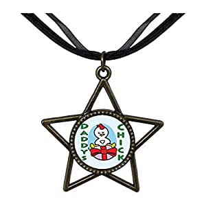 Chicforest Bronze Retro Style Cartoon Theme Five Pointed Star Pendant Daddy's Chick Easter