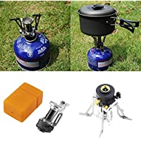 creatYspace Portable Folding Mini Camping Survival Cooking Furnace Stove Gas Burner Outdoor Steel Stove Case Stainless Steel