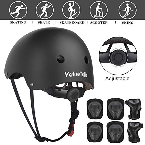 ValueTalks Kid's Protective Gear Set, 7 in 1 Kinds Adjustable Helmet Suitable for Ages 3-8 Years Toddler Boys Girls, Sports Kits Knee Elbow Wrist Pads for Bike Bicycle Skateboard Scooter (Black)