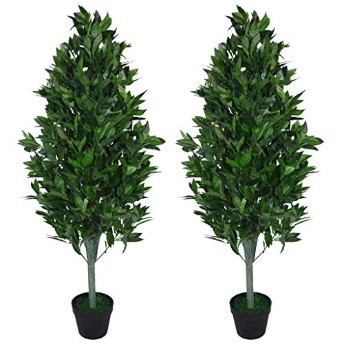 Leaf Pair of 120cm (4ft) Artificial Topiary Bay Trees Pyramid Cones-Extra Large