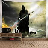 Home & Garden,Dartphew 1Pcs [ Halloween & Rock guitar black death ] Tapestry - for Room Bedspread Wall Art Hanging Home Decor Grand (Polyester,Size:150x130cm)