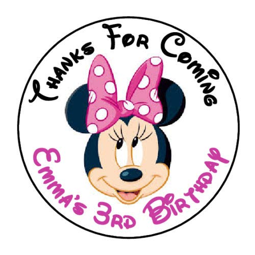 Minnie Mouse Face Stickers (Sticker 24 Personalized Minnie Mouse FACE Pink Birthday Party Favor Label)