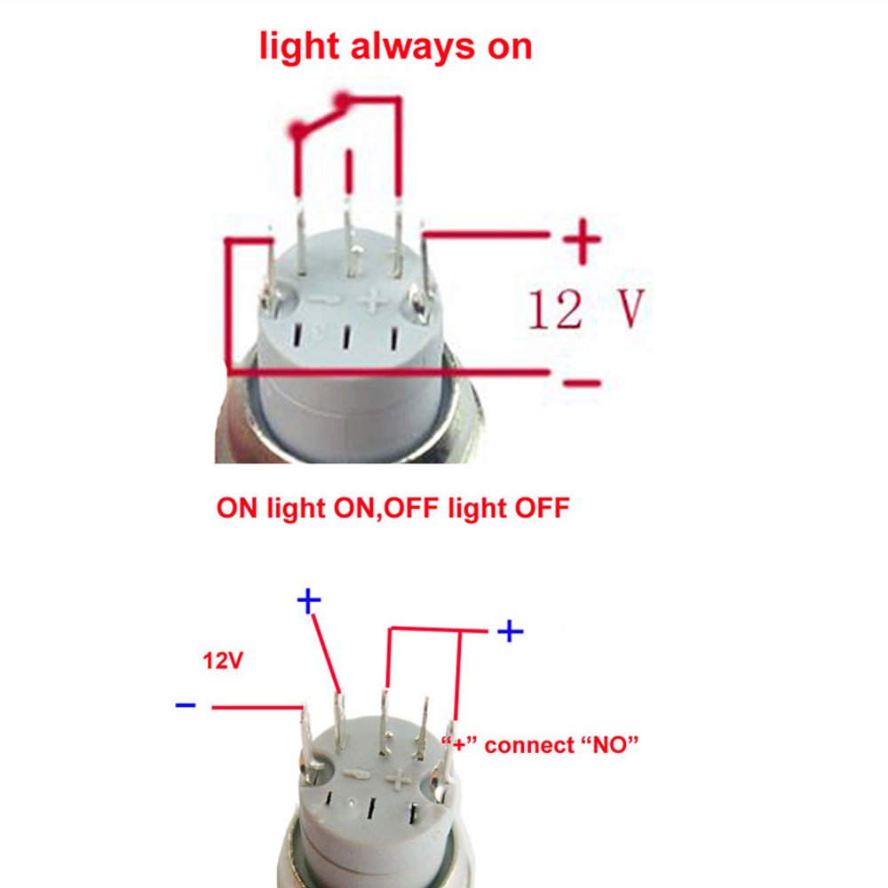 ESUPPORT 16mm 12V 3A Car Purple LED Light Angel Eye Metal Push Button Toggle Switch Latching Black Shell