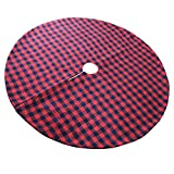 EDLDECCO 48 inch Christmas Tree Skirt with Red and Black Buffalo Check Tree Skirt Double layers a Fine Decorative Handicraft for Holiday Party